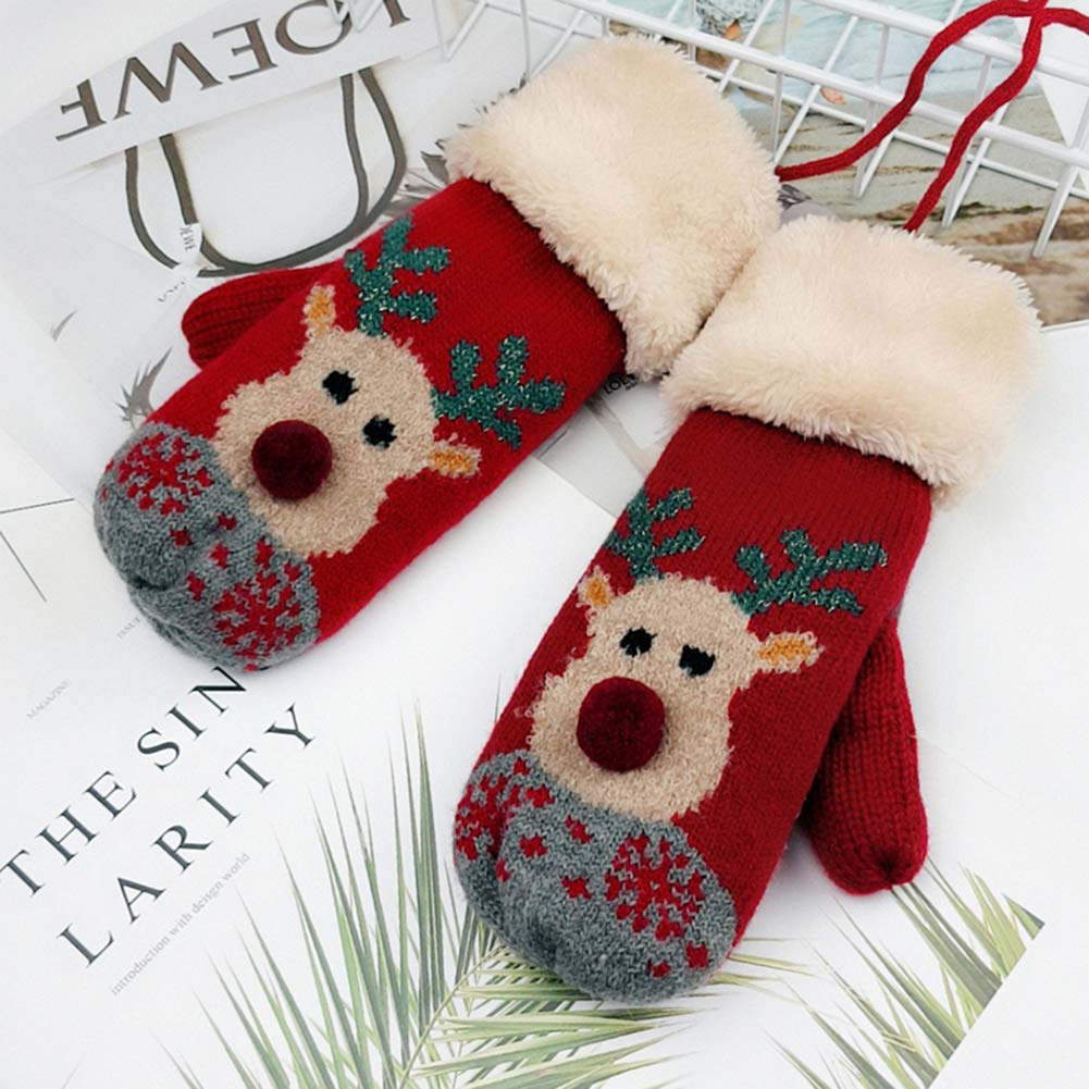 Womens Cute Bear Xmas Tree Elk Print Christmas Knit Winter Warm Mittens Gloves