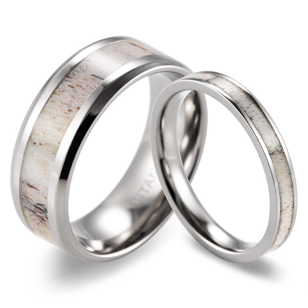 SHARDON Titanium Ring Set with Deer Antler Inlay Men Size 10 and Women Size 7.5