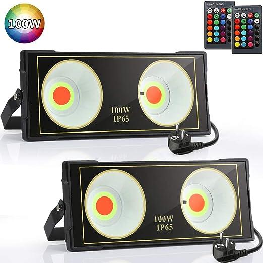 Aurorast 2xLED Foco de Colores 100W, Proyector Led RGB en 16 ...