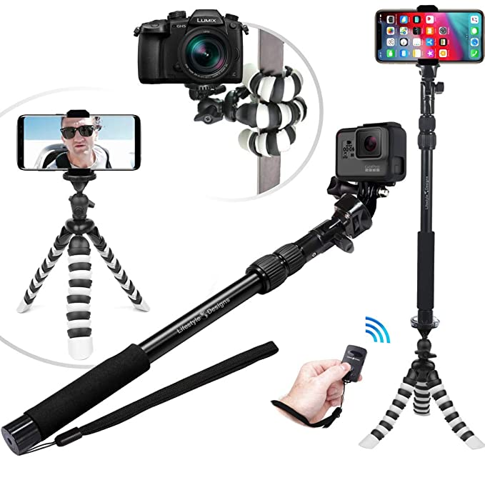 brand new 6ddb7 0ebf8 NEW HD Flexible Tripod & Selfie Stick 6-in-1 Kit w/ Bluetooth Remote – Best  Video & Vlog Stand for Any Phone, GoPro or Camera: iPhone XR XS Max XS X ...