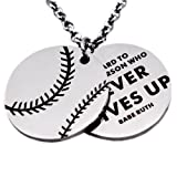 Amazon Price History for:N.egret Hall of Fame Quote Dog Tag Pendant Necklace Baseball Football Chain for Kids Gift For Encouragement Inspirational Present