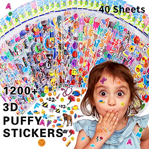 HORIECHALY Stickers for Kids,3D Puffy Stickers,40 Different Sheets,for Teacher&Kids,Including Fruits,Animals,Cars,Flowers,Stars and More!(1200+ Stickers)