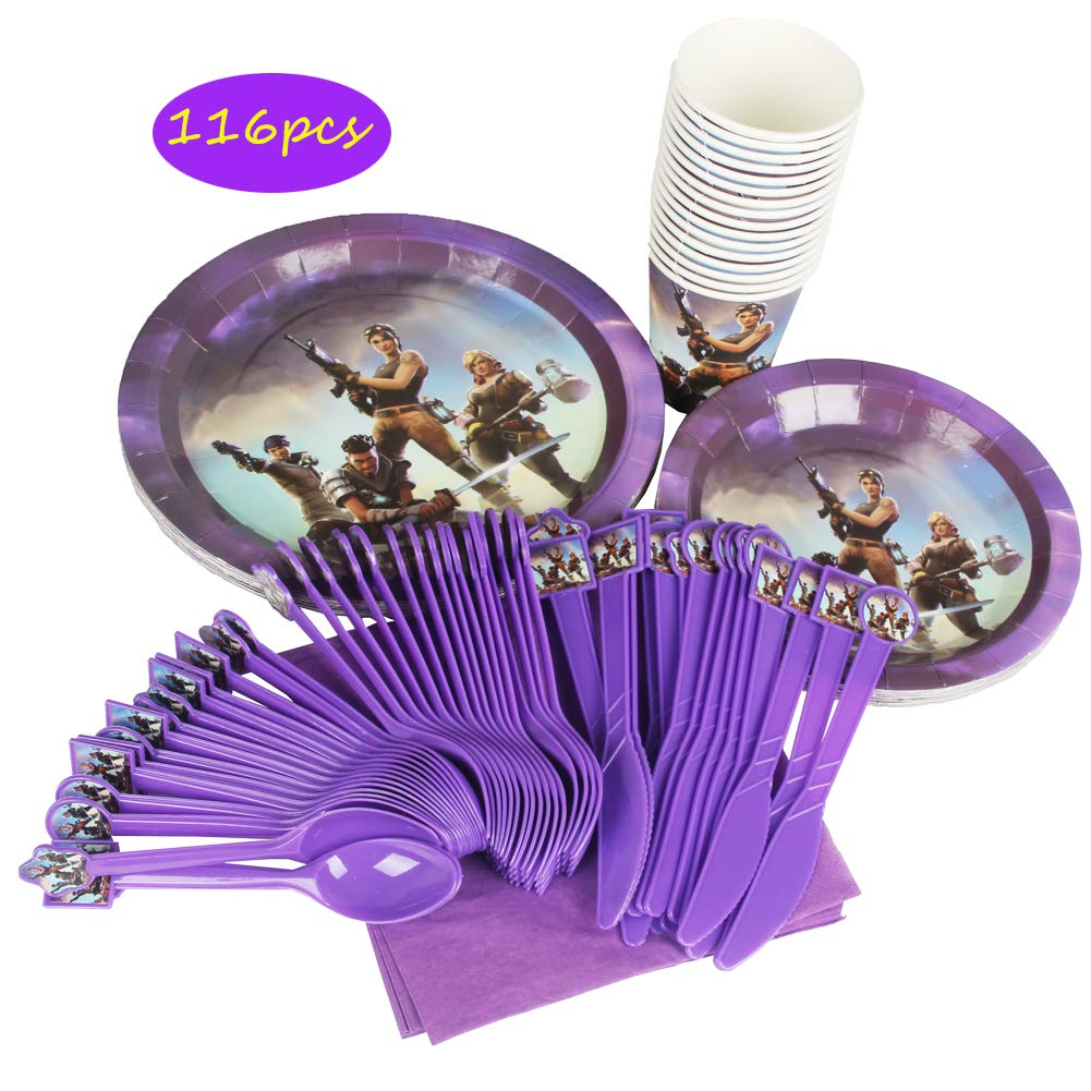 Video Game Party Supplies for Vedio Themed party Serves 16 with 16pcs Plates, Round 7 and 9 inch Dessert Paper Appetizer Plates,16pcs Cups, 16pcs Napkins and 16cs Forks, Knives, Spoons For Video Game Save the World by LA KEN DU