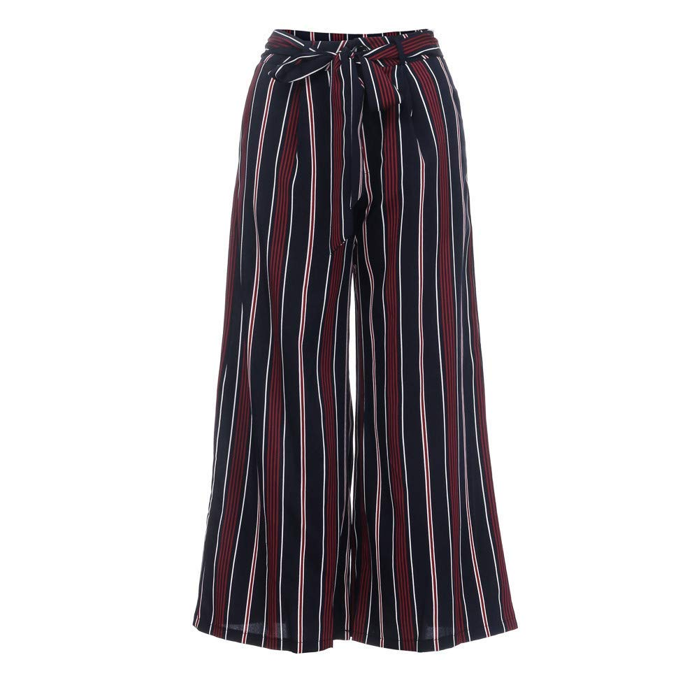 Brilliant sun Fashion Women High Waist Drawstring Stripy Trousers Casual Wide Leg Pants