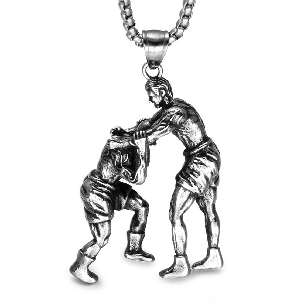 JAJAFOOK Unisex Stainless Steel Wrestling Match Pendant Sports Necklace 24 inch Chain