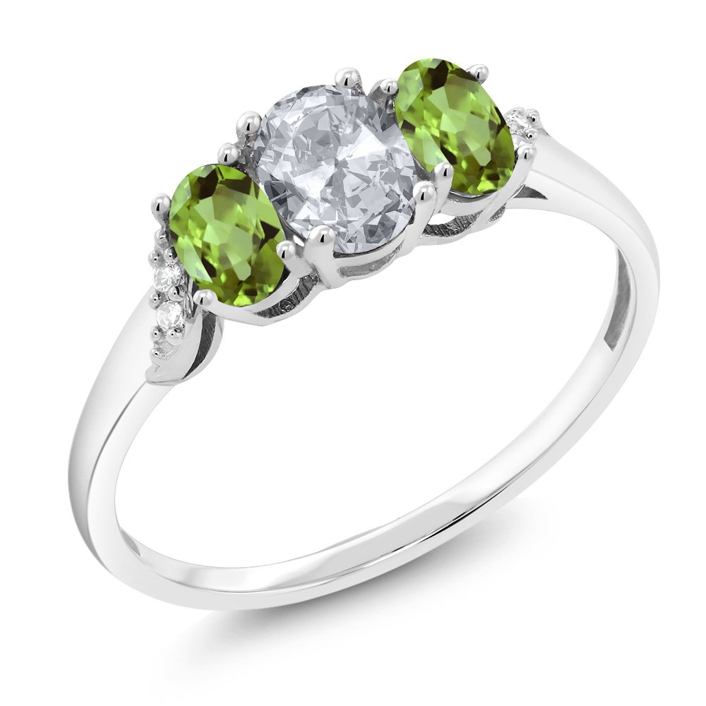 10K White Gold 1.05 Ct White Topaz Green Peridot 3-Stone Ring With Accent Diamond (Available in size 5, 6, 7, 8, 9)