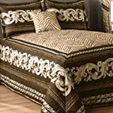 zebra bedspread full - Zaria Mitered Full Bedspread Comforter Set (Comforter + 2 Shams) Brown Stripes Zebra