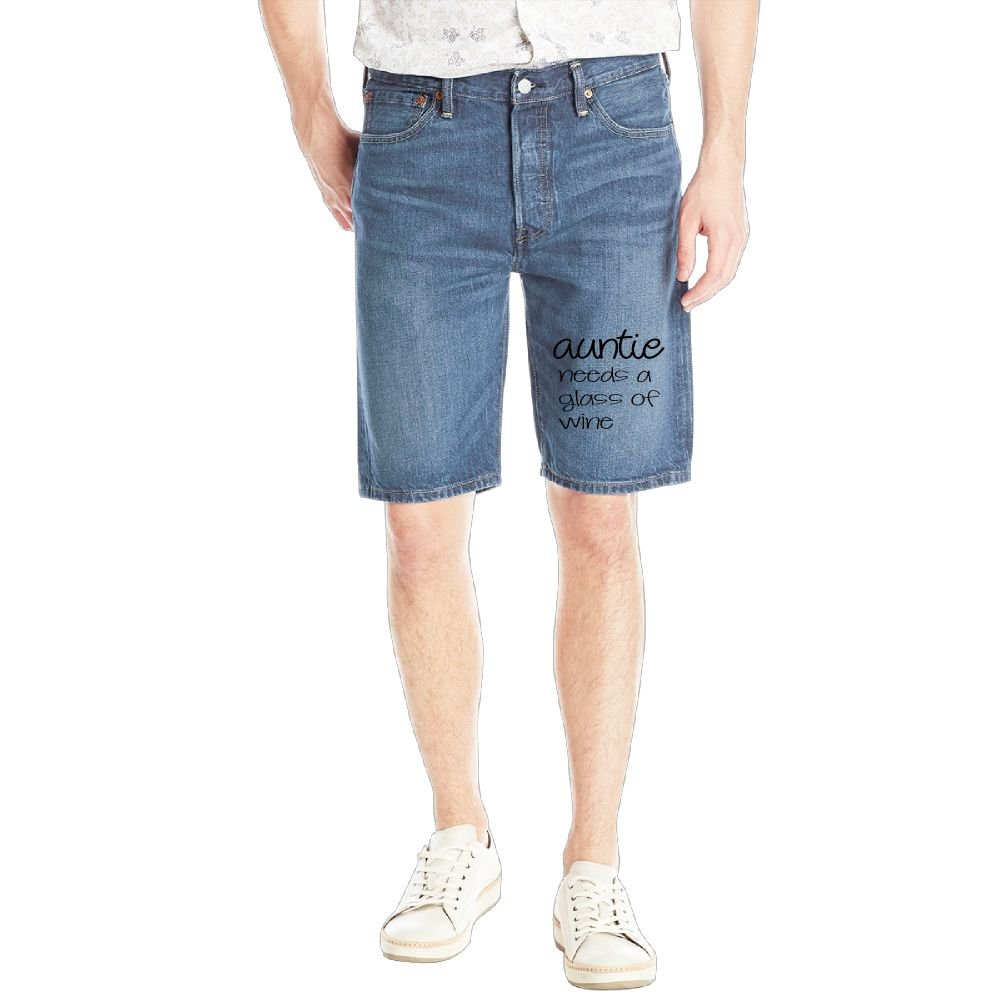 Auntie Needs A Glass of Wine Mens Casual Short Denim Jean Pants Cool Casual Jeans Trousers RoyalBlue