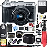 Canon M6 EOS 24.2MP Mirrorless Digital Camera with EF-M 15-45mm IS STM Lens (Silver) + 64GB Extreme SDXC Memory UHS-I Card + Accessory Bundle