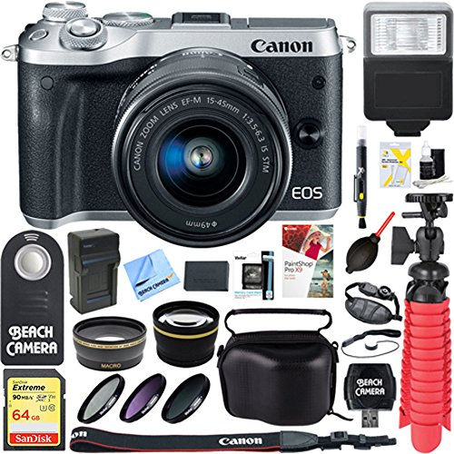 Canon M6 EOS 24.2MP Mirrorless Digital Camera with EF-M 15-45mm IS STM Lens (Silver) + 64GB Extreme SDXC Memory UHS-I Card + Accessory Bundle by Beach Camera