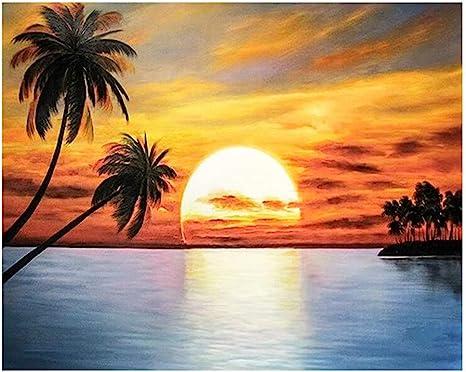 Full Drill 5D Diamond Painting Coconut Tree Cross Stitch Kits Embroidery Decors