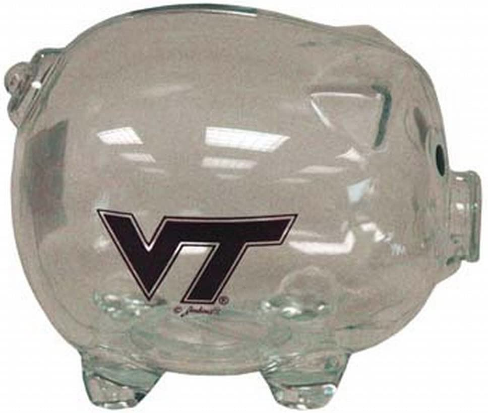 NCAA Virginia Tech Hokies Clear Plastic Piggy Bank