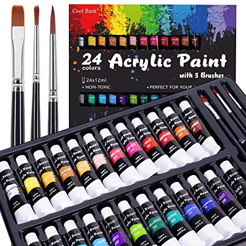 Acrylic Paint Set, 24 Rich Pigment Colors with 3 Art Brushes for Painting Canvas, Wood, Ceramic & Fabric, Rich Pigments Lasting Quality for Beginners, Students & Professional Artist