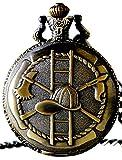 Fire Fighter Design Case for Quartz Pocket Watch with Chain(Bronze)