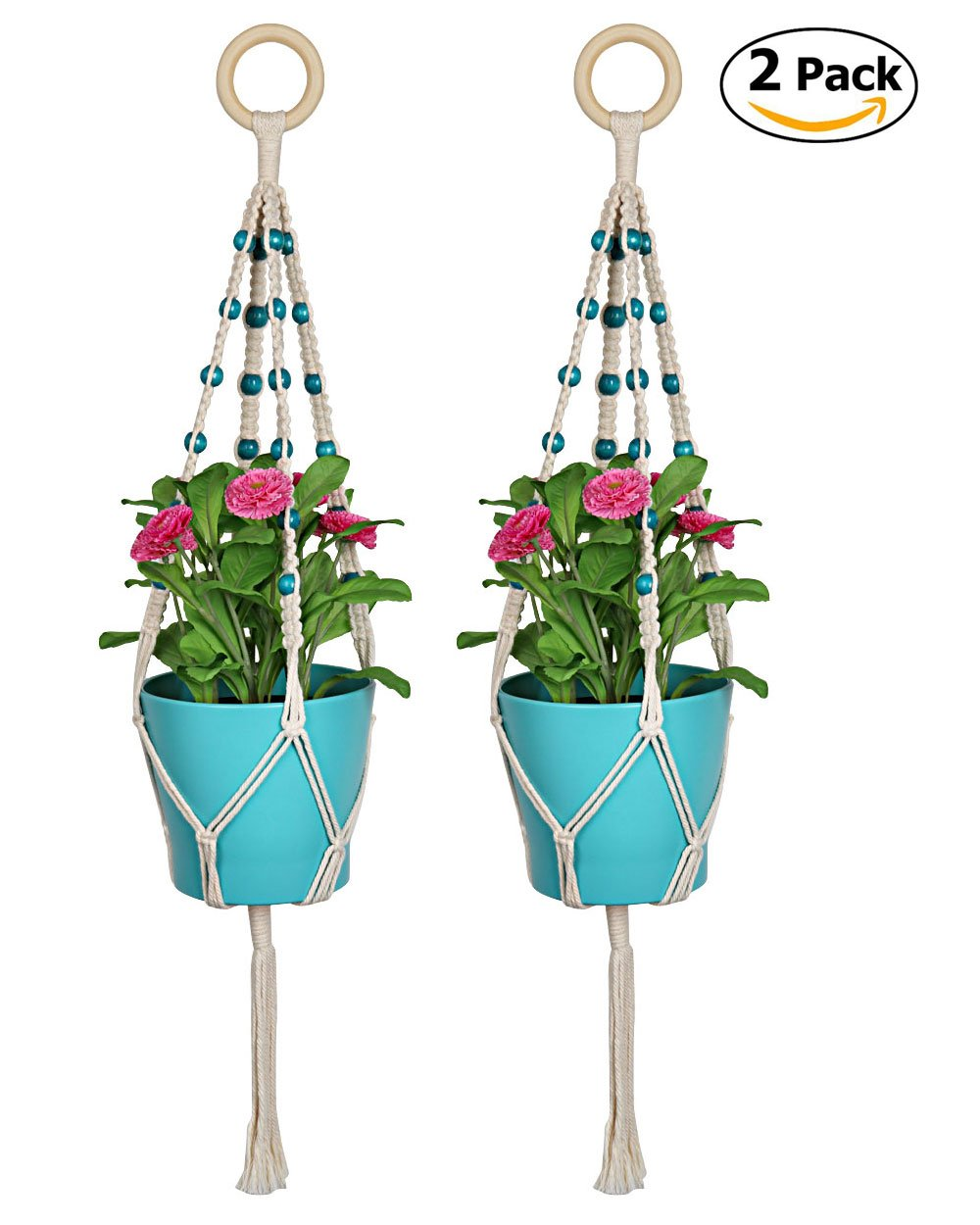 Macrame Plant Hanger, Seavish 2 Pack Hanging Plant Indoor Outdoor Plant Holder Basket Cotton Rope 4 Legs Boho Chic Wall Decor for Garden Balcony Deck Patio Porch (30'') …