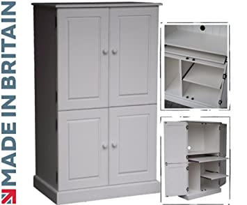 Bois massif computer cabinet blanc painted home office
