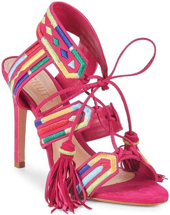 Schutz Thainy Bright Rose Pink Suede Stiletto sandals
