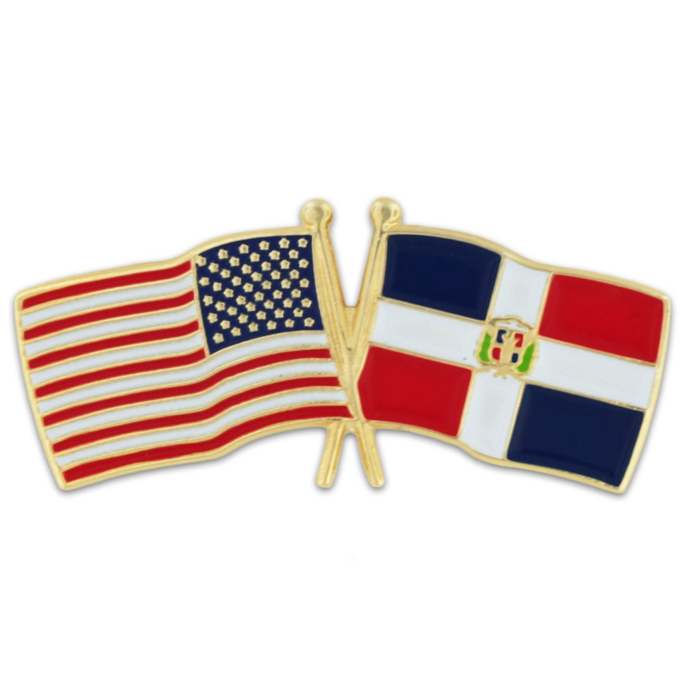 PinMart's USA and Dominican Republic Crossed Friendship Flag Enamel Lapel Pin