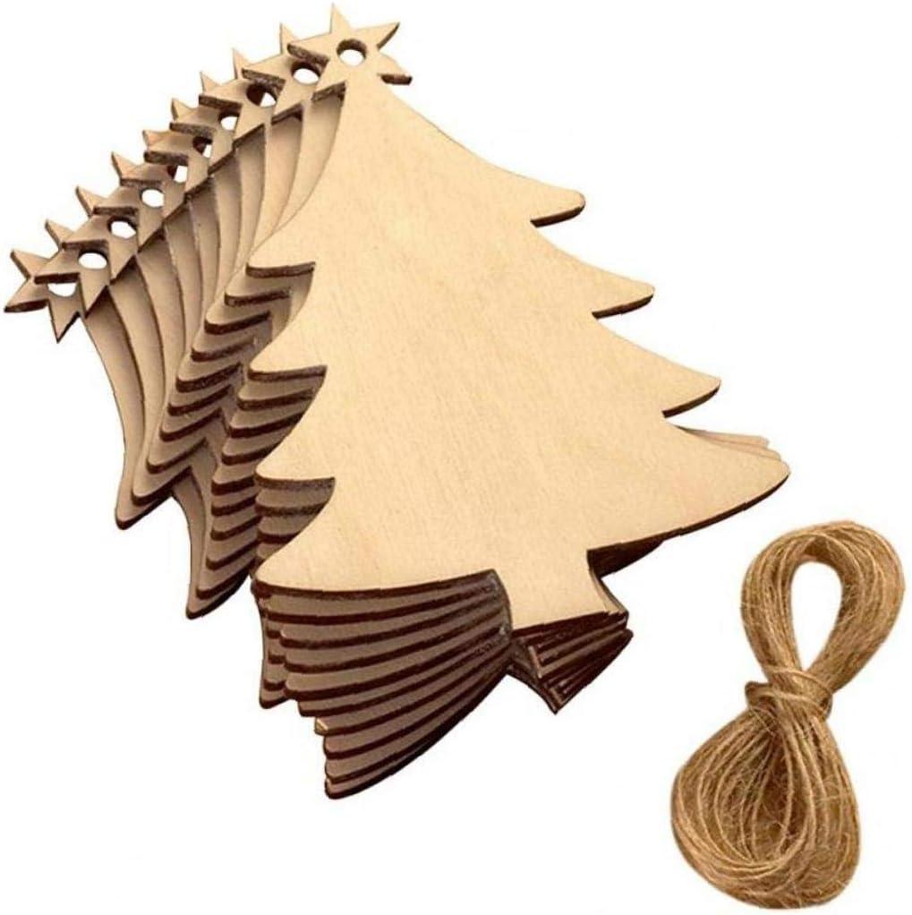 Aisoway La Placa Colgante de Madera de /árbol Adornos Colgantes para la decoraci/ón de Navidad 10pcs