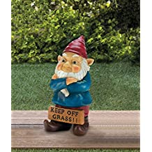Gnomes Pair Of Grumpy Garden Gnome with Keep Off Grass Sign Figurine Statue …