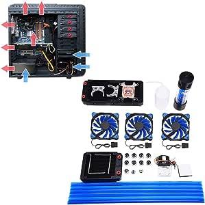 Kit de refrigeración por agua para PC DIY, sistemas de refrigeración líquida de CPU que incluyen radiador de 240/120 mm, 3 ventiladores LED, enfriador de CPU, tanque ...