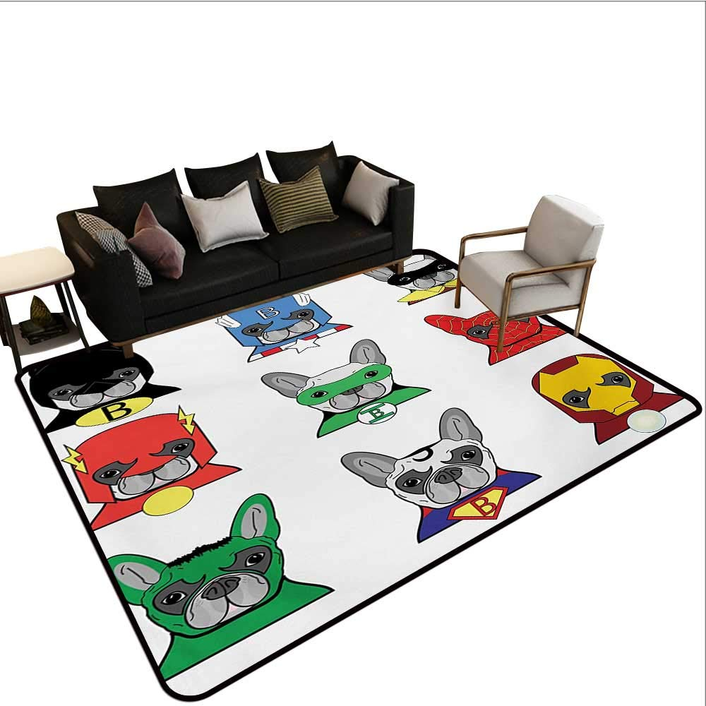 color08 W6'6\ color08 W6'6\ Non-Slip Floor mat,Bulldog Superheroes Fun Cartoon Puppies in Disguise Costume Dogs with Masks Print 6'6 x9',Can be Used for Floor Decoration