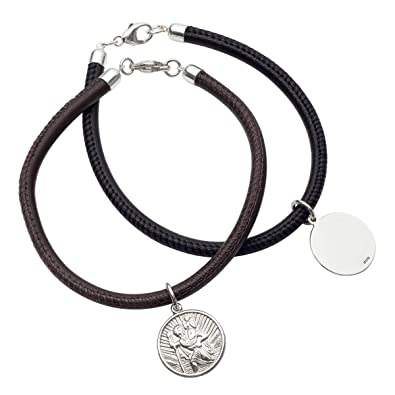 f65dc5ad2 Silver and Leather St Christopher Bracelet   Hersey & Son Silversmiths:  Amazon.co.uk: Jewellery