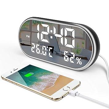 AZX Reloj Despertador Digital, Espejo portátil Pantalla LED HD con función de Tiempo,Humedad,Temperatura,USB de Carga Despertadores electrónico para Dormir, ...