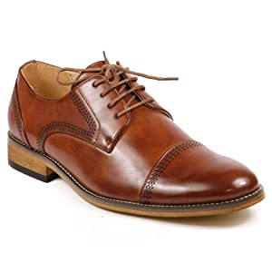 UV Signature G61069-133 Men's Lace Up Cap Toe Oxford Dress Shoes (12, Brown)