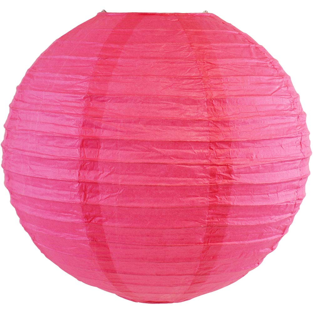 Just Artifacts Magenta Pink Chinese/Japanese Paper Lantern/Lamp 12'' Diameter - Just Artifact.