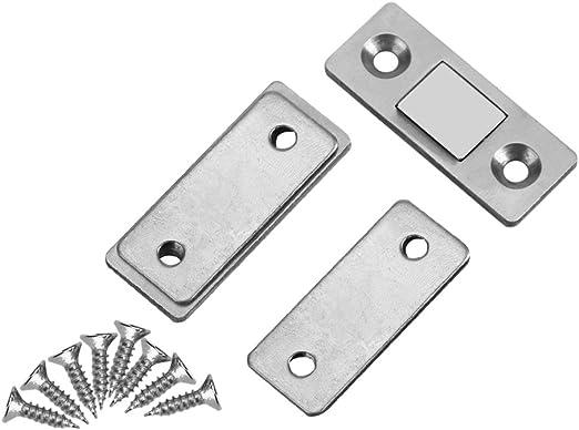 Yosoo Cerradura de Captura de Puerta Fuerte Ultra Fino Cierre de Puerta Magnético Metal con Tornillos para Muebles de Casa Armario 2Pcs: Amazon.es: Hogar