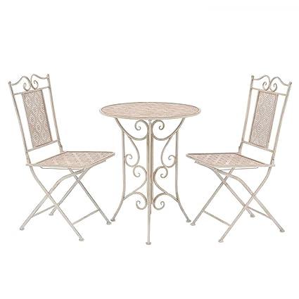 Ensemble de Bistro de Jardin en Acier 1 Table et 2 chaises ...
