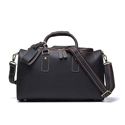 84d377d5c1dc Amazon.com: Ybriefbag Unisex Classic Leather Men's Bag Brown Leather ...