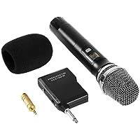 Microphone Sans Fil Micro Karaoké UHF avec 1 Récepteur + 2 Connecteur de 6,35 mm et de 3.55mm Micro Karaoké HF Récepteur Professionne à Main pour Karaoké Haut-parleurs PA, DJ, Fête (Pile non Fourni)
