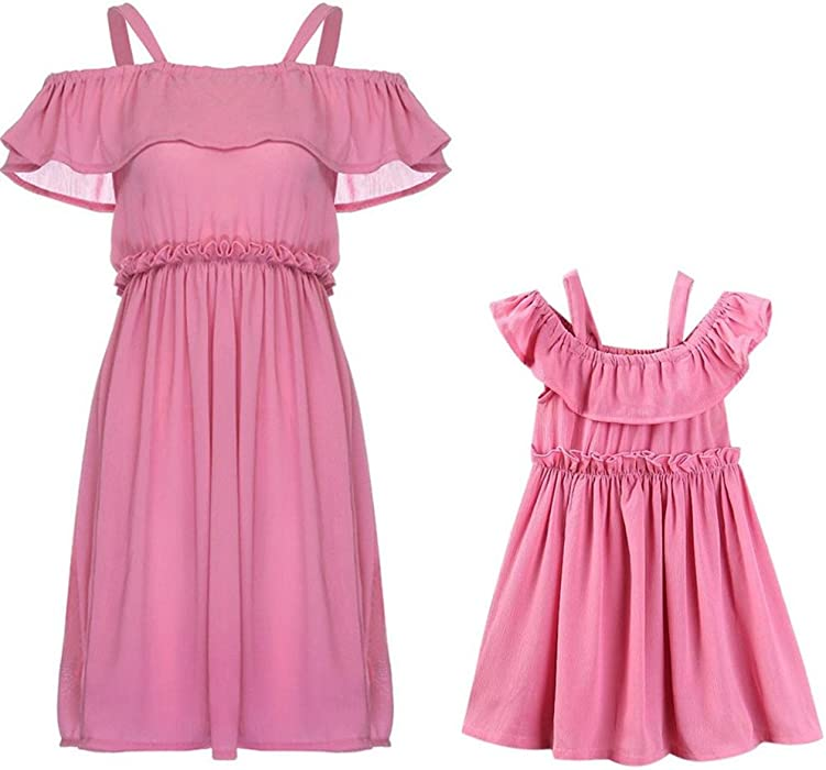 c3ad8544574455 Mommy & Me Clothes, Tenworld Off Shoulder Mother Daughter Matching Dresses (Mom  US 2