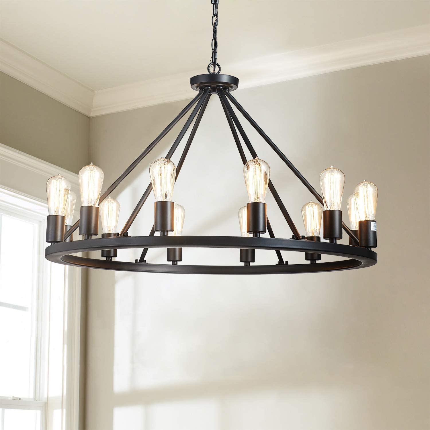 """Saint Mossi Antique Painted Metal Chandelier Lighting Black Finish 12 Lights Chandelier, Diam 32"""" inch Pendant Chandelier Island Chandeleir Lighting Rustic Vintage Farmhouse Industrial Country Style"""