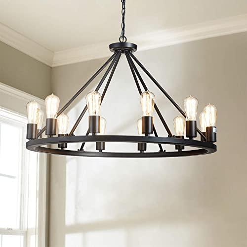 Saint Mossi Antique Painted Metal Chandelier Lighting Black Finish 12 Lights Chandelier, Diam 32 inch Pendant Chandelier Island Chandeleir Lighting Rustic Vintage Farmhouse Industrial Country Style