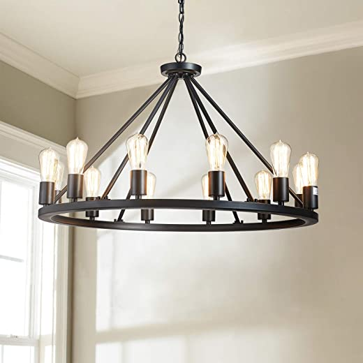 """Saint Mossi Antique Painted Metal Chandelier Lighting with 12 Lights,Rustic Vintage Farmhouse Pendant Lighting in Industrial Country Style,Black Finish,H20"""" x D32"""" with Adjustable Chain"""