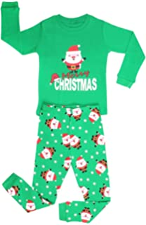 Elowel Boys Santa Christmas 2 Piece Kids Pajamas Set 100% Cotton (Size6M-12Y