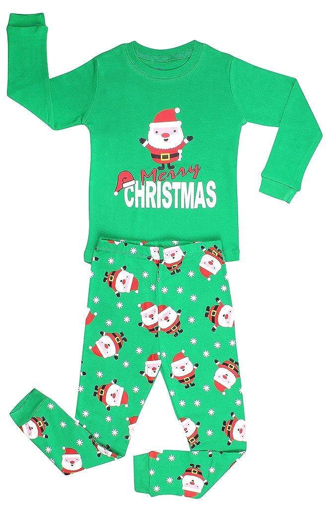 Elowel Boys Santa Christmas 2 Piece Kids Pajamas Set 100% Cotton (Size6M-12Y) Elowel Pajamas bsanta00