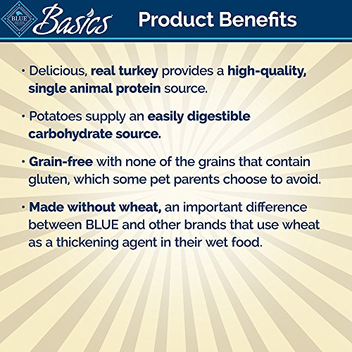 BLUE Basics Limited Ingredient Diet Adult Grain Free Turkey & Potato Wet Dog Food 12.5-oz (Pack of 12) by BLUE Basics (Image #3)