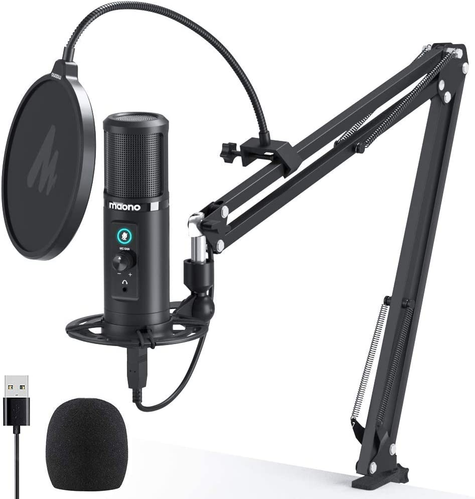 Voice Over YouTube Studio//Home Recording Streaming USB Microphone Kit 192KHZ//24BIT MAONO PM420 Plug /& Play Cardioid Podcast Condenser Mic with Professional Sound Chipset for Gaming