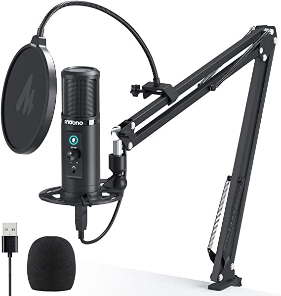 USB Microphone Zero Latency Monitoring MAONO PM422 192KHZ/24BIT Professional Cardioid Condenser Mic with Touch Mute Button and Mic Gain Knob for Recording