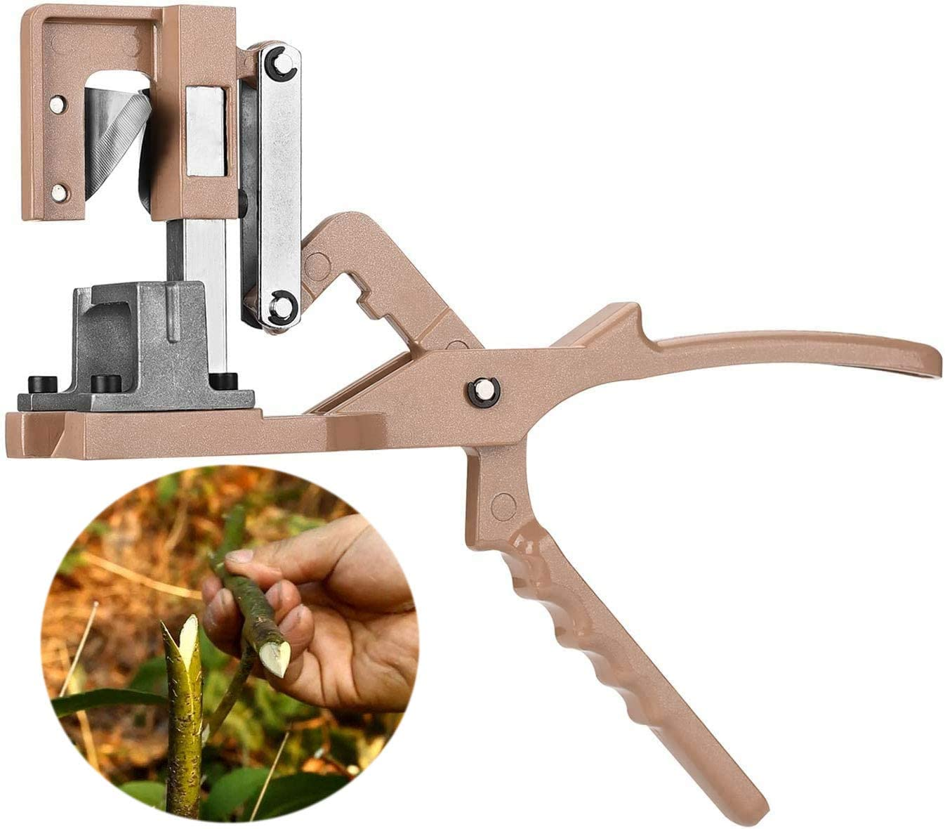 Zmucen Grafting Tool Garden Fruit Trees and Vines Rootstock and Scion Save 50% of Labor Cost 90%+ Success Rates Cut 5-20mm Dia Professional Large Full Metal Body Blade Sharp
