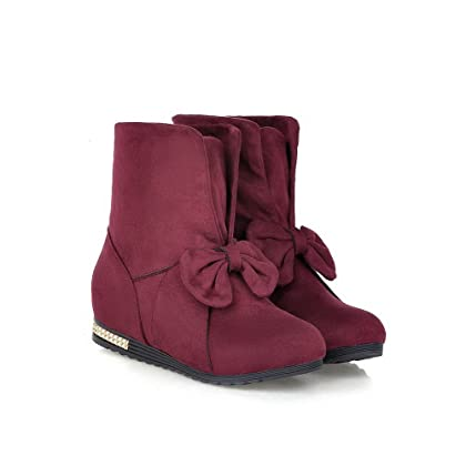 fe895057c99 VogueZone009 Womens Round Closed Toe Kitten Heels Imitated Suede Solid  Boots with Foldable and Wedge