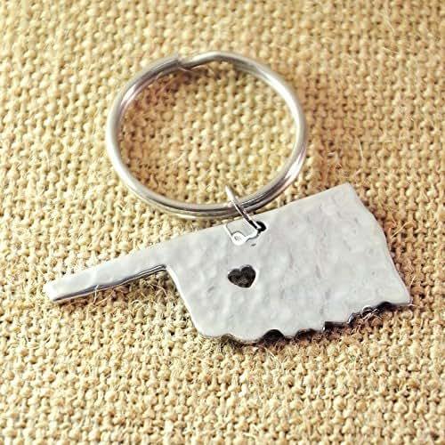 Amazon Hammered Oklahoma Key Chain Map Key Chains