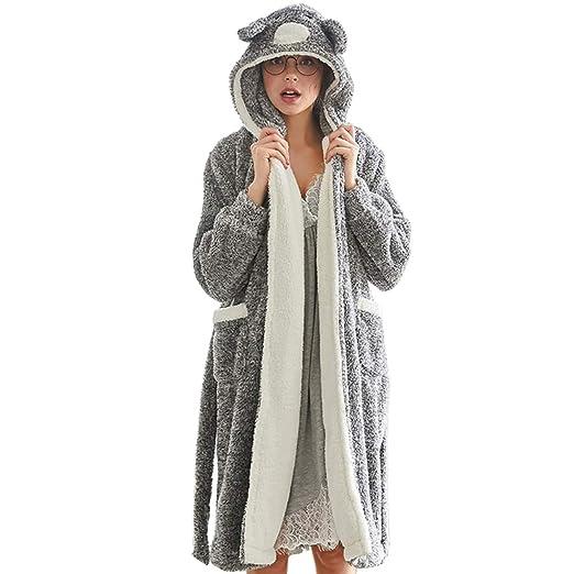 Belgius Women Fleece Robe Flannel Bathrobe Bunny Hoodie Self-Belt Winter  Sleepwear Black M 4c2a1588a
