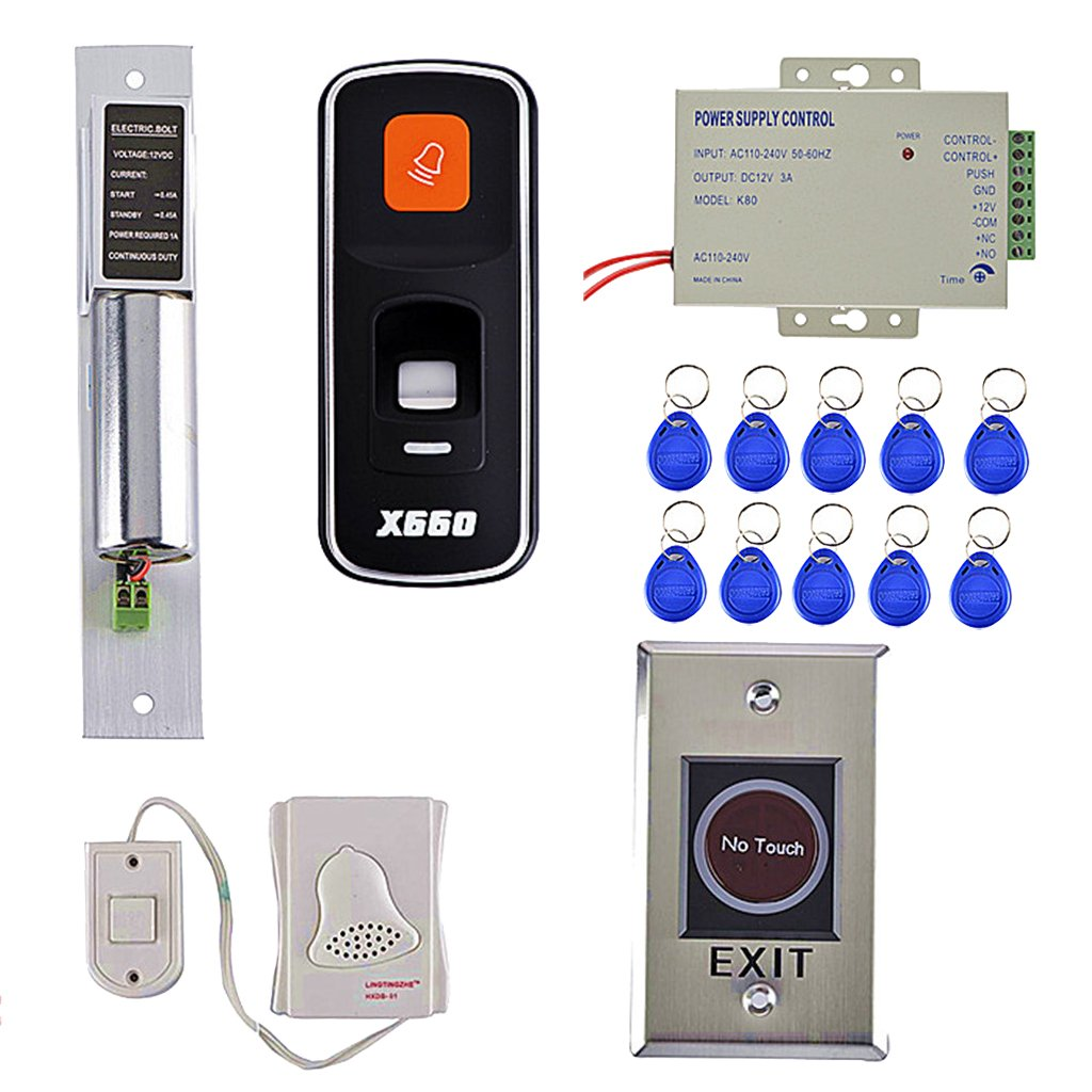 Dovewill Access Control+Power Supply+Electric Lock+RFID Key Fobs+Exit Button+Doorbell