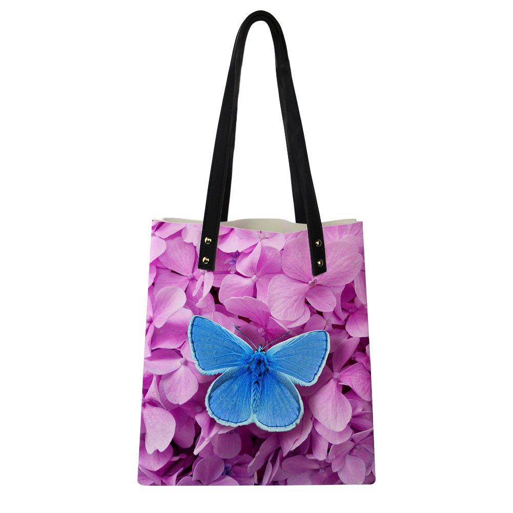 ff2cca84afe1 Amazon.com: HUGS IDEA Pink Butterfly Tote Bag PU Leather Shoulder ...
