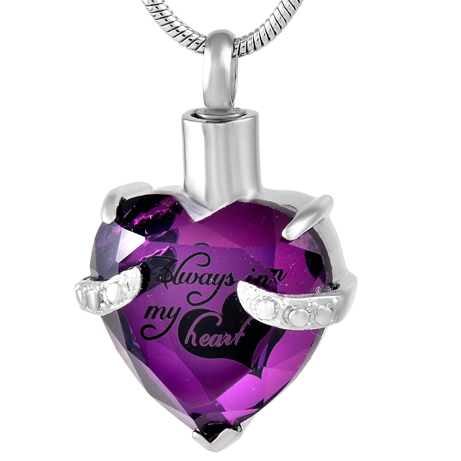 """Always in my Heart"" Birthstone Cremation Urn Necklace Memorial Ashes Keepsake Pendant +Fill Kit"